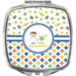 Boy's Space & Geometric Print Compact Makeup Mirror (Personalized)