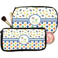 Boy's Space & Geometric Print Makeup / Cosmetic Bag (Personalized)