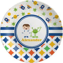 Boy's Space & Geometric Print Melamine Plate (Personalized)
