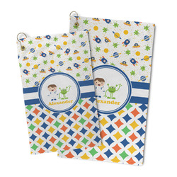 Boy's Space & Geometric Print Microfiber Golf Towel (Personalized)