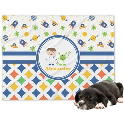 Boy's Space & Geometric Print Minky Dog Blanket (Personalized)