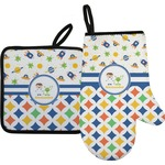 Boy's Space & Geometric Print Oven Mitt & Pot Holder (Personalized)