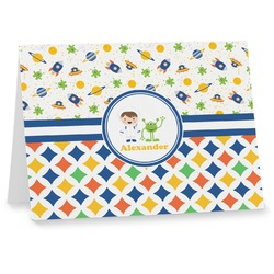 Boy's Space & Geometric Print Note cards (Personalized)