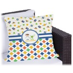 Boy's Space & Geometric Print Outdoor Pillow (Personalized)