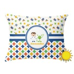 Boy's Space & Geometric Print Outdoor Throw Pillow (Rectangular) (Personalized)