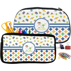 Boy's Space & Geometric Print Pencil / School Supplies Bag (Personalized)