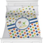 Boy's Space & Geometric Print Minky Blanket (Personalized)