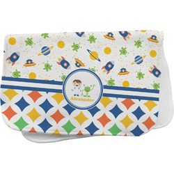 Boy's Space & Geometric Print Burp Cloth (Personalized)