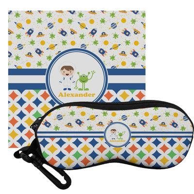 Boy's Space & Geometric Print Eyeglass Case & Cloth (Personalized)
