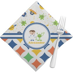 Boy's Space & Geometric Print Napkins (Set of 4) (Personalized)