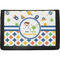 Boy's Space & Geometric Print Trifold Wallet (Personalized)