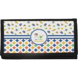 Boy's Space & Geometric Print Canvas Checkbook Cover (Personalized)