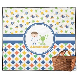 Boy's Space & Geometric Print Outdoor Picnic Blanket (Personalized)