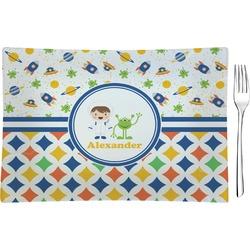 Boy's Space & Geometric Print Rectangular Glass Appetizer / Dessert Plate - Single or Set (Personalized)