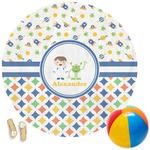 Boy's Space & Geometric Print Round Beach Towel (Personalized)
