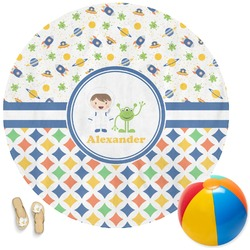 Boy's Space & Geometric Print Round Beach Towel (Personalized)
