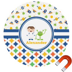 Boy's Space & Geometric Print Round Car Magnet (Personalized)