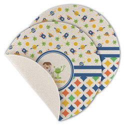 Boy's Space & Geometric Print Round Linen Placemat (Personalized)