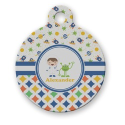 Boy's Space & Geometric Print Round Pet Tag (Personalized)