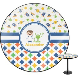 Boy's Space & Geometric Print Round Table (Personalized)