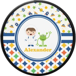 Boy's Space & Geometric Print Round Trailer Hitch Cover (Personalized)