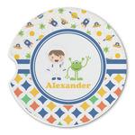 Boy's Space & Geometric Print Sandstone Car Coasters (Personalized)