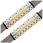 Boy's Space & Geometric Print Seat Belt Covers (Set of 2) (Personalized)