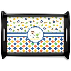 Boy's Space & Geometric Print Black Wooden Tray - Small (Personalized)