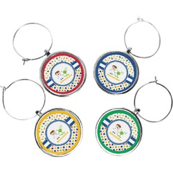 Boy's Space & Geometric Print Wine Charms (Set of 4) (Personalized)