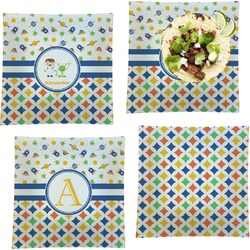 Boy's Space & Geometric Print Set of 4 - Square Dinner Plates (Personalized)