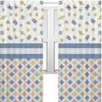Boy's Space & Geometric Print Sheer Curtains (Personalized)