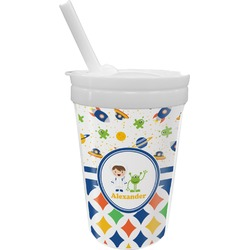 Boy's Space & Geometric Print Sippy Cup with Straw (Personalized)
