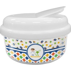Boy's Space & Geometric Print Snack Container (Personalized)