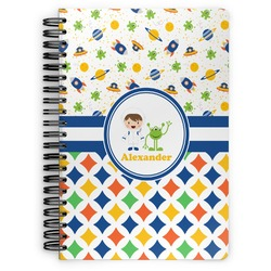Boy's Space & Geometric Print Spiral Bound Notebook (Personalized)