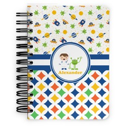 Boy's Space & Geometric Print Spiral Bound Notebook - 5x7 (Personalized)
