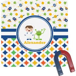 Boy's Space & Geometric Print Square Fridge Magnet (Personalized)