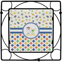 Boy's Space & Geometric Print Square Trivet (Personalized)