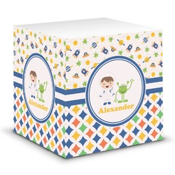 Boy's Space & Geometric Print Sticky Note Cube (Personalized)