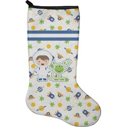 Boy's Space & Geometric Print Christmas Stocking - Neoprene (Personalized)