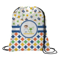 Boy's Space & Geometric Print Drawstring Backpack (Personalized)