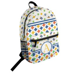 Boy's Space & Geometric Print Student Backpack (Personalized)
