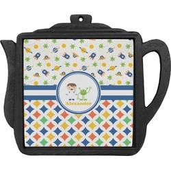 Boy's Space & Geometric Print Teapot Trivet (Personalized)