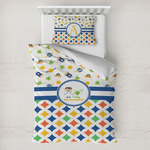 Boy's Space & Geometric Print Toddler Bedding w/ Name or Text