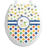 Boy's Space & Geometric Print Toilet Seat Decal (Personalized)