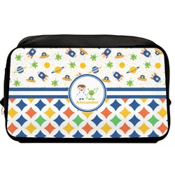 Boy's Space & Geometric Print Toiletry Bag / Dopp Kit (Personalized)