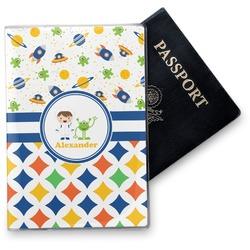 Boy's Space & Geometric Print Vinyl Passport Holder (Personalized)