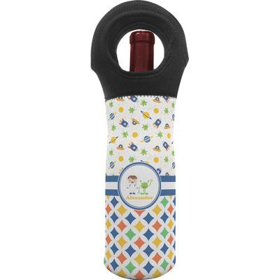 Boy's Space & Geometric Print Wine Tote Bag (Personalized)