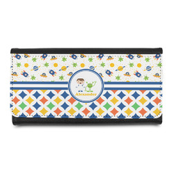 Boy's Space & Geometric Print Leatherette Ladies Wallet (Personalized)