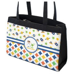 Boy's Space & Geometric Print Zippered Everyday Tote (Personalized)