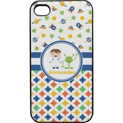 Boy's Space & Geometric Print Plastic 4/4S iPhone Case (Personalized)